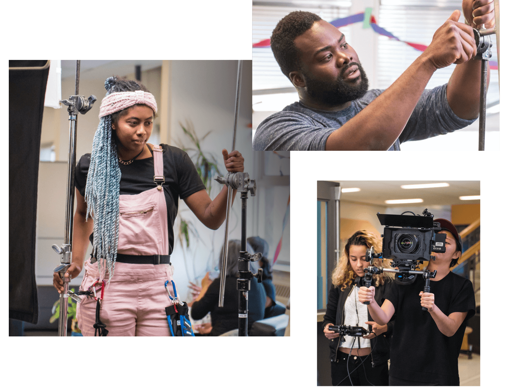 Three images are shown.    One is of a person with colourful locks standing and holding C-stands on set. The second is of a person adjusting grip stand for silks with his hands. The third photo includes two people, one is holding a camera with a shoulder rig in both hands. The second person in this photo is viewing the footage on a small monitor.